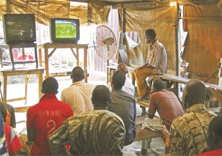 Viewing centres where football mix with politics